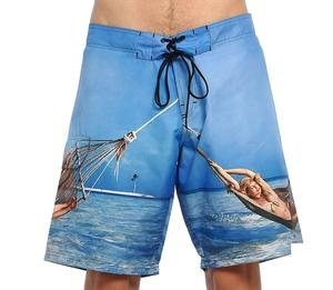 Erkek Mavi Desenli Deniz Şortu 400136-PRT