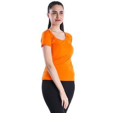 Polnecku Kadın Sarı Günlük Stil Tişört 400215-ORG 714341