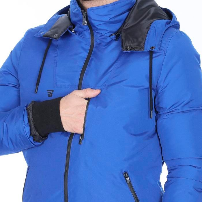 Erkek Mavi Kapüşonlu Outdoor Mont TKE1039-00M 1079271