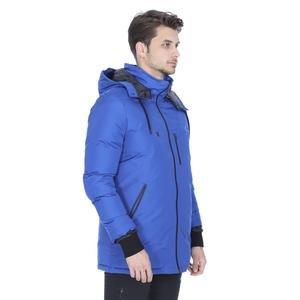 Erkek Mavi Kapüşonlu Outdoor Mont TKE1039-00M