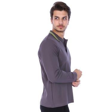 Basic Erkek Gri Günlük Stil Polo Tişört PER-2017FWXY 987931