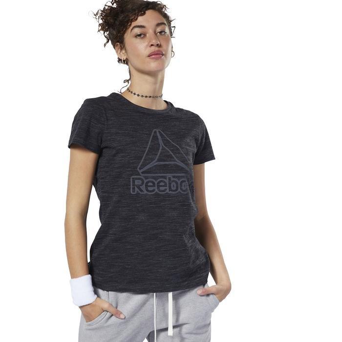 Marble Logo Kadın Siyah Antrenman Tişört EC2325 1146554