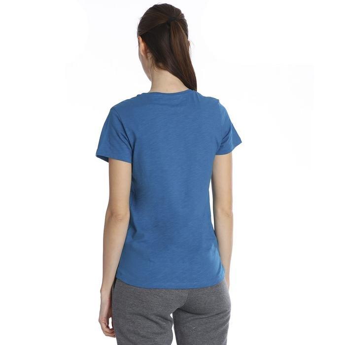 Kadın Mavi Günlük V Yaka Tişört 610003-PTR 1158324