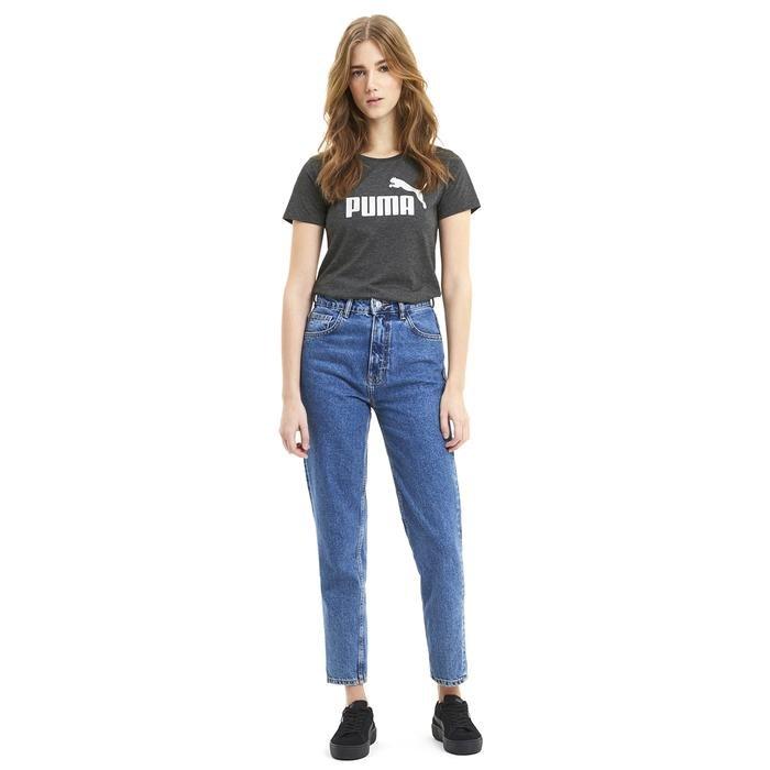 Ess Logo Heather Tee Kadın Siyah Günlük Tişört 85212701 1214781