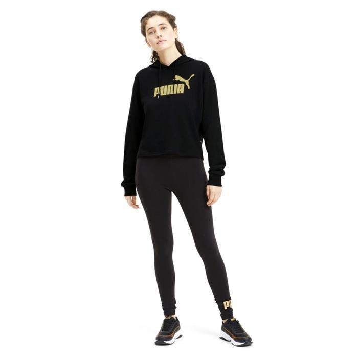 Ess Metallic Cropped Hoody Tr Kadın Siyah Günlük Sweatshirt 58241156 1214615