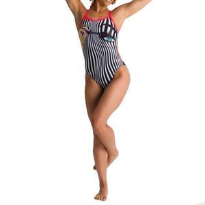 W Crazy Make Up Challenge Back One Piece Kadın Siyah Yüzücü Mayo 002845540