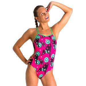 W Crazy Monkeys Tie Back One Piece Kadın Pembe Yüzücü Mayo 002831906
