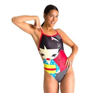 W Crazy Kokeshi Lightech Back One Piece Kadın Siyah Yüzücü Mayo 002835540