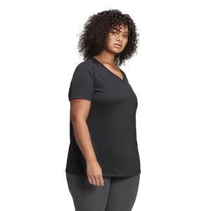 Designed 2 Move Plus Size Kadın Siyah Antrenman Tişörtü FM0176