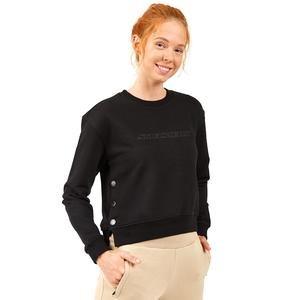 Lw Fleece W Long Snap Crew Neck Kadın Siyah Günlük Stil Sweatshirt S202032-001