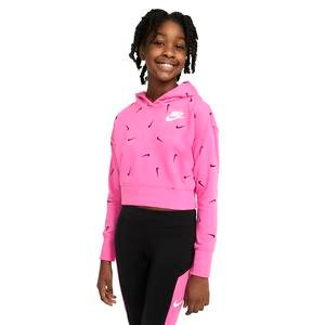 G Nsw Aop Crop Ft Hoodie Çocuk Pembe Günlük Stil Sweatshirt CZ2566-684