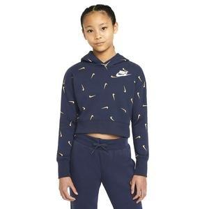 G Nsw Aop Crop Ft Hoodie Çocuk Mavi Günlük Stil Sweatshirt CZ2566-451
