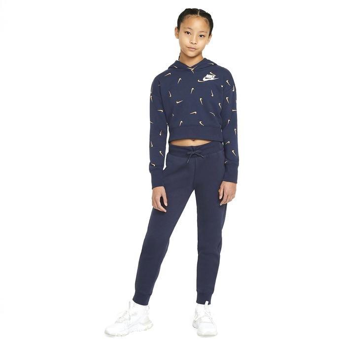 G Nsw Aop Crop Ft Hoodie Çocuk Mavi Günlük Stil Sweatshirt CZ2566-451 1234186
