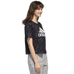 W E Aop T Kadın Siyah Günlük Stil Tişört GE1137