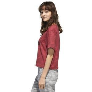 W E Aop T Kadın Kırmızı Günlük Stil Tişört GE1142
