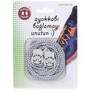 Magic Locks Unisex Beyaz Gri Ayakkabı Bağcığı 5A1