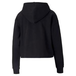 Ess+ Cropped Metallic Logo Hoodie Kadın Siyah Günlük Stil Sweatshirt 58689251