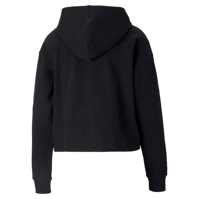 Ess+ Cropped Metallic Logo Hoodie Kadın Siyah Günlük Stil Sweatshirt 58689251 1218273