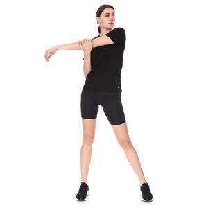 Spo-Assymetric Tee Kadın Siyah Günlük Stil Tişört 712107-SYH